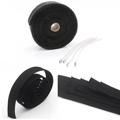 20M Black Titanium Heat Wrap Exhaust Downpipe Insulating Roll Tape Cable Ties Uk