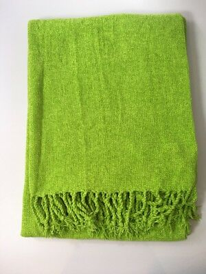 Zara Home - Green Throw - 130 x 170 cm - Soft Material - Tassels - 100% acrylic