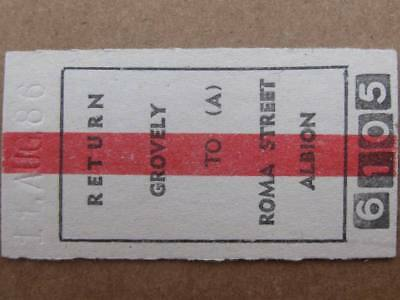 QUEENSLAND RAILWAYS CARD TICKET -  GROVELY to ROMA STREET / ALBION RETURN
