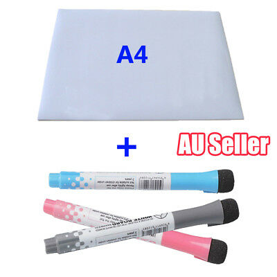 A4 Magnetic Whiteboard For Fridge Marker Flexible Vinyl Kitchen White Board BO