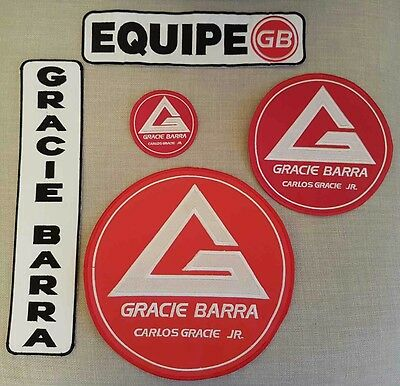 Gracie Barra Jiu jitsu Patches for Gi - New - Set of 5 pcs.