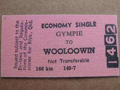 QUEENSLAND RAILWAYS CARD TICKET - GYMPIE to WOOLOOWIN ECONOMY SINGLE