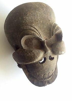 TRIBAL SKULL MASK Hand Carved Wooden Mask Skeleton Tibetan Macabre Bizarre Weird