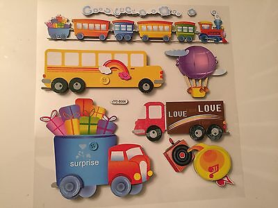 Wall Stickers 3D Removable train, truck, bus Art Decor Kids Room/ Decals for boy