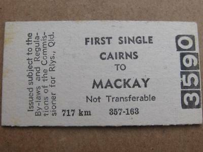 QUEENSLAND RAILWAYS CARD TICKET - CAIRNS to MACKAY FIRST SINGLE