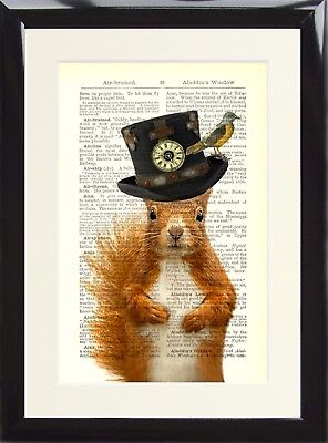 Art Print Antique Dictionary Page Vintage Steampunk Red Squirrel Hat Animal