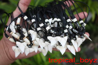10 XL Monster Shark Tooth Necklaces Sharks Teeth Wood Bone Beads Wholesale Lot