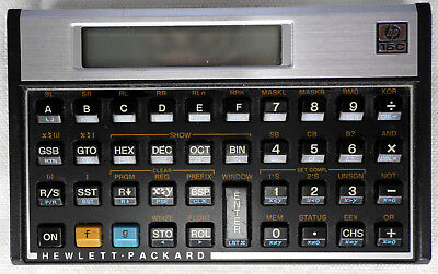 HP-16C calculator with manual and leather slip case