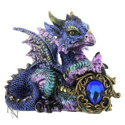 Nemesis Now Dragon Ornament Figure Statue Tyrian Purple Blue Crystal Guardian