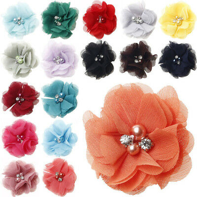 5/20/40pcs Ribbon Bows Flower the Rhinestone Appliques Sewing Craft Lots