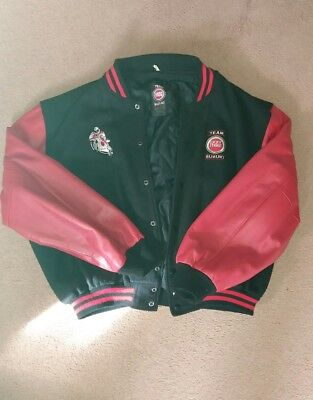 mens Vintage Lucky Strike casual jacket with red leather arms size XL