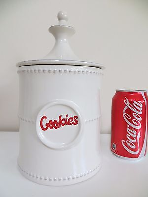 Cookie Jar Canister Stoneware White Grey w/ Red Lettering 3D Cookie 48-Ounce
