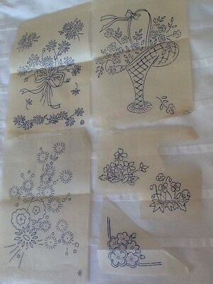 Lot Of 4 Vintage Embroidery Transfers.