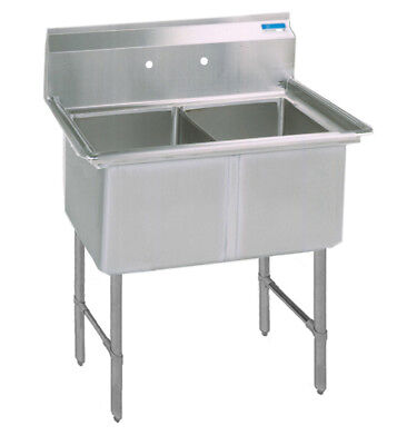"BK Resources 41""x23.5""x14"" Two Compartment 16 Gauge Stainless Steel Sink"