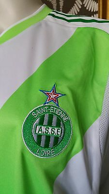 Adidas White Green Formotion Match Saint Etienne Football Jersey Shirt Top L