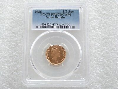 1985 Royal Mint St George Dragon Gold Proof Half Sovereign Coin PCGS PR67 DCAM