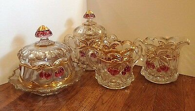 Antique Northwood carnival depression Glass EAPG Cherry Cable table set 1890's