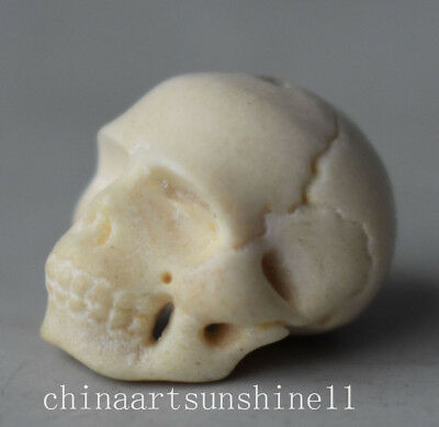 Collection Cow Bones Pendant Handmade Carved Skull Head Statue Decorative Arts