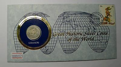 COINS OF ALL NATIONS 1952  Lebanon  50 Piastres Silver
