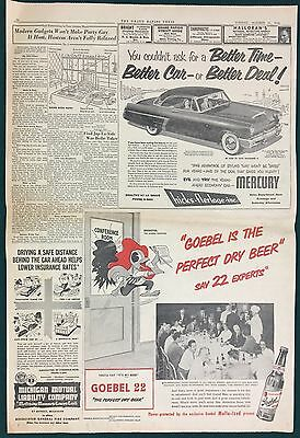 """1952 GOEBEL PRIVATE STOCK 22 BEER Newspaper Ad w/ Brewster (11-3/4"""" x 12-1/2"""")"""