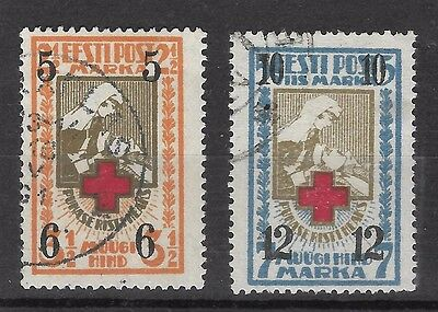 Estonia 1926 Red Cross Fund Surcharged  Sg 60-61 Perf  Set 2 Used.cat £ 30.00.