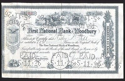 First National Bank Woodbury NJ 10 Shares Capital Stock Certificate 1911 Paid