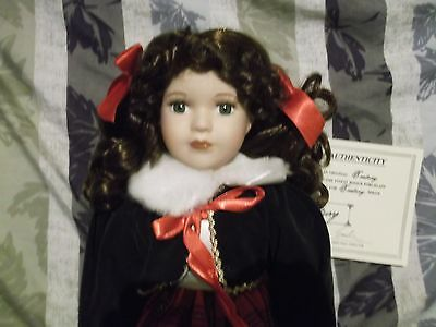 "Century Collection 17"" Porcelain doll curly brown hair - well-detailed outfit"