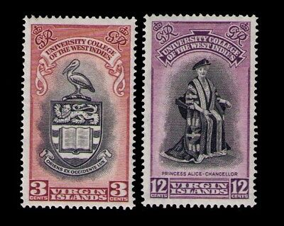 1951 Virgin Islands, KGVI University Issue SC# 96-7 MH Cpl.set