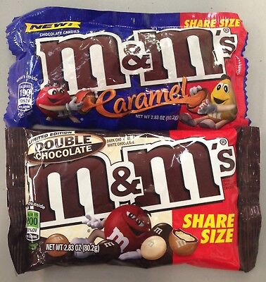 NEW Caramel M&M's and Double Chocolate M&Ms Sampler Share Size USA Candy