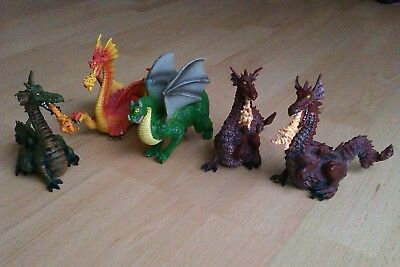 4 Plastic fire breathing Dragon Figures Papo Early early centre toys
