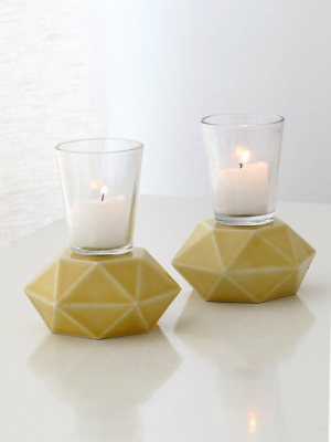 Yellow Shabbat Candlesticks, Pair of Hexagon Ceramic Candle Holders, Trendy Hous