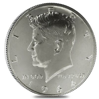 1964 Accented Hair Kennedy Half Dollar 90% Silver Proof Scruffy Coin