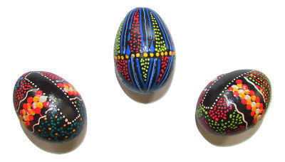 Hand Painted Wooden Egg Shaker Aboriginal Style Kids Gift Rattle Maracas