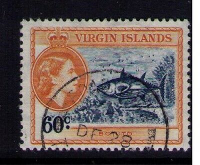 1956 Virgin Islands stamps, QEII 60c SC# 124 Used CV:$12.00