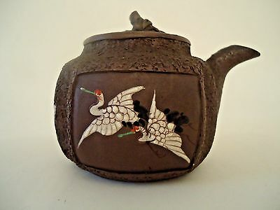 Antique Banko Teapot And Cover Enamelled With Cranes  - Circa 1880´s - Japan