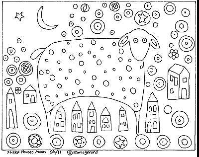 Rug Hook Craft Paper Pattern SHEEP HOUSES MOON Folk Art PRIMITIVE Karla Gerard