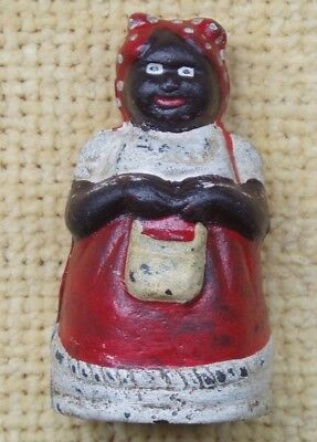 Vintage Cast Iron Black Lady Americana Mini Coin Money Box