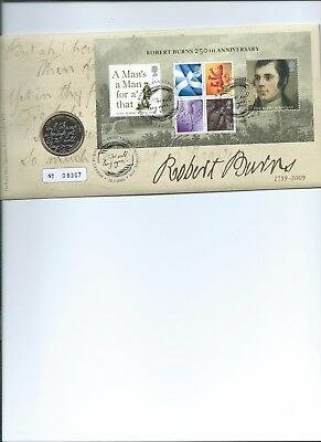 £2 Coin  2009 On First Day Cover Robert Burns