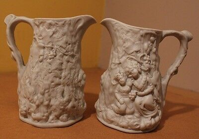 Pair of 2 White Portmeirion Parian Jugs British Porcelain Collectible Ornament