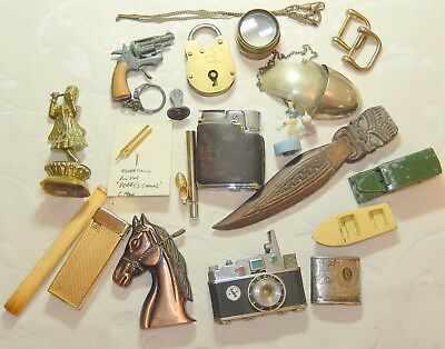 Job Lot Mixed Vintage Collectables Perry Nib Badge Locks Toys Seal Microscope