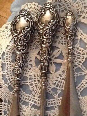 Antique Silver Button Hook And Shoe Horns Hallmarked Chester 1903