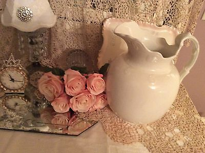 Early White Ironstone Large Pitcher Farmhouse Cottage Chic Shabby Ornate Handle