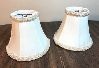 Pair of Small Vintage Lamp Shades   Cream   White
