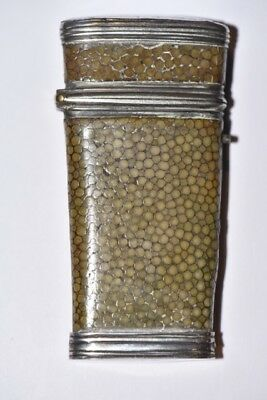 Early 19th C. Rare Silver Banded Shagreen Covered Lancet Case