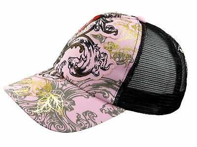 Ladies Cap Pink Heart N Roses