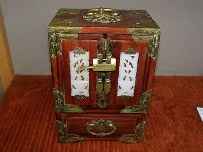 Vintage Chinese Rosewood Jewellery Chest w/ Brass Hardware