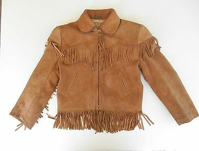 Vtg Roy Rogers Jacket Childs Size 8 Juniors Leather Tan Western Cowboy Fringed