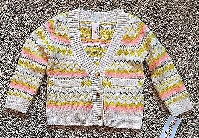 NWT Girls Yellow Cream Long Sleeve Cat & Jack Cardigan Sweater 18 Months