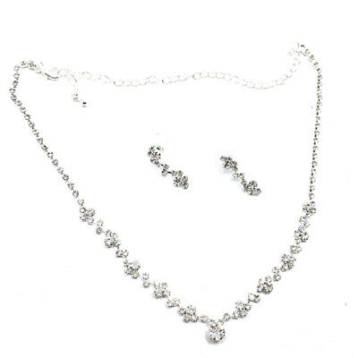 Silver Bridesmaid Crystal Necklace Earrings Set Wedding Bridal Jewelry^