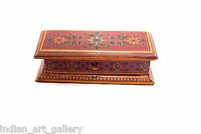 Highly Decorative Beautiful Hand Painted Vintage Wooden Trinket Box. G43-135